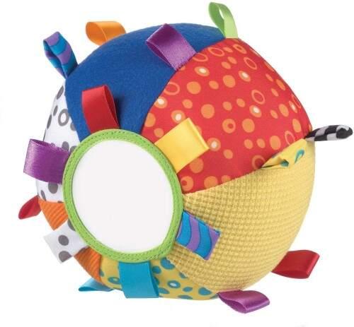 Juegos y juguetes para bebés desde 3 meses. Pelota de tela con texturas,                              espejo, etiquetas y sonajero,