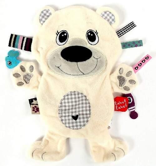 Este mantita de diseño de oso polar es suave y                                fácil de sujetar para el bebé
