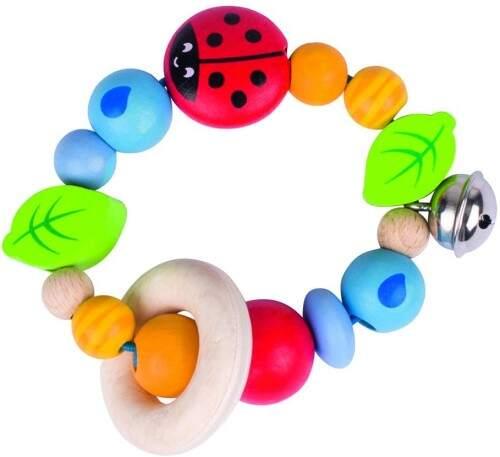Bonito sonajero de materiales naturales de alta calidad, un                                      juguete de calidad para el bebe desde 4 mesess
